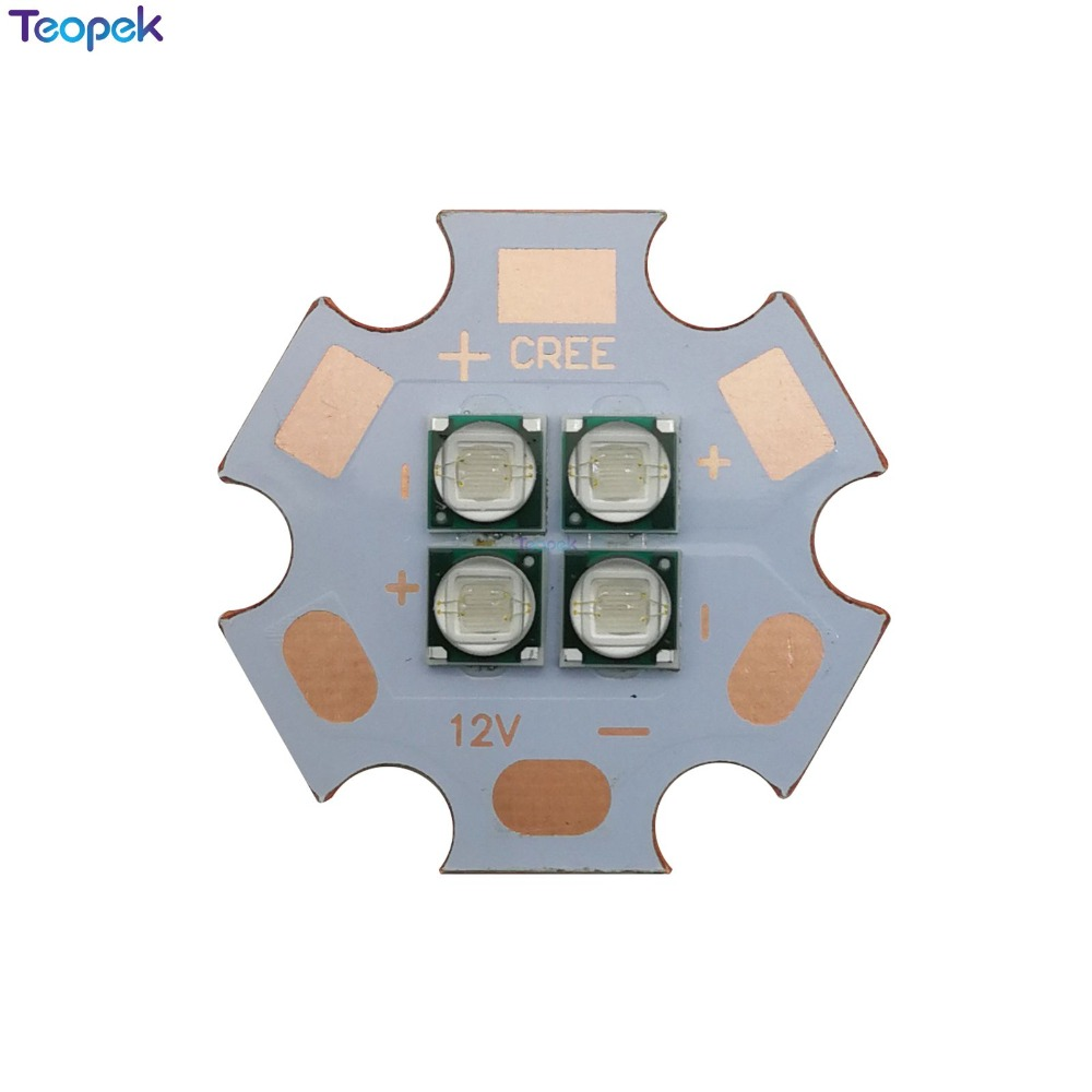 12W Epiled 3535 Ultra Violet <font><b>UV</b></font> 365nm 380nm 395nm 420NM 4 chips High Power Led <font><b>Lamp</b></font> 7V/14V Light Source On 20MM Copper <font><b>PCB</b></font> image