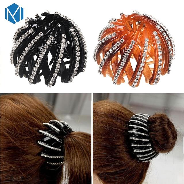 MISM Fashion Crystal Ponytail Holder Rhinestone hair Crab Donut Bud Women s  Hairstyles Hair Claws Girl Bird Nest Updo Hair Grips 4a1d2d18314f