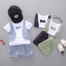 Newly 2PCS/SET Baby Boys European And American Children\\\s Clothing Summer Short Sleeve Fake Two T-shirt + Shorts 2 Sets 2019