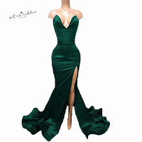 2018 Black Green Deep V Neck Sexy Evening Dresses Long Women Split Custom Made Mermaid African Prom Dress Abiye Gece Elbisesi