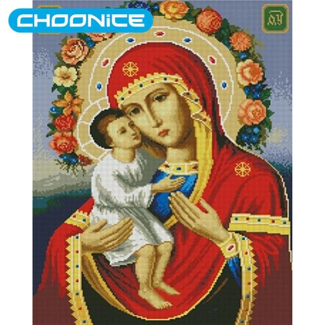 e26c0ca35992b Diamant Peinture Vierge Marie Jésus Enfants Religieux Peintures BRICOLAGE  3D Diamant Broderie Religieux Enfant L