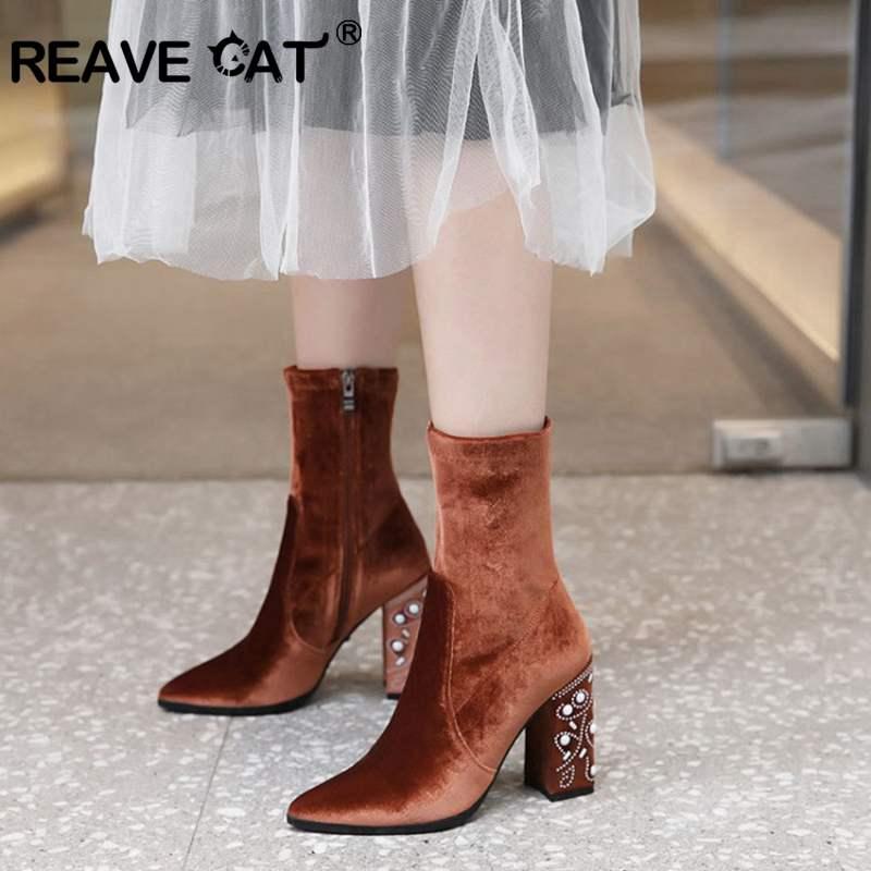 Punta Flock 18cm 40cm Sólido Cat En Toe Cool Zapatos Reave Mujeres Mujer 40cm Black Para Feminino Las Invierno army A1317 Sip brown Botas Suave Otoño 18cm Green grey 0pqwRpzO