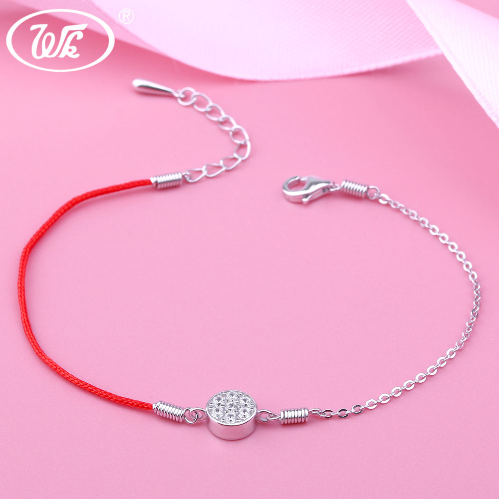 WK 925 Silver Basic Simple Classic 6MM Crystal Pendant Necklace For ...
