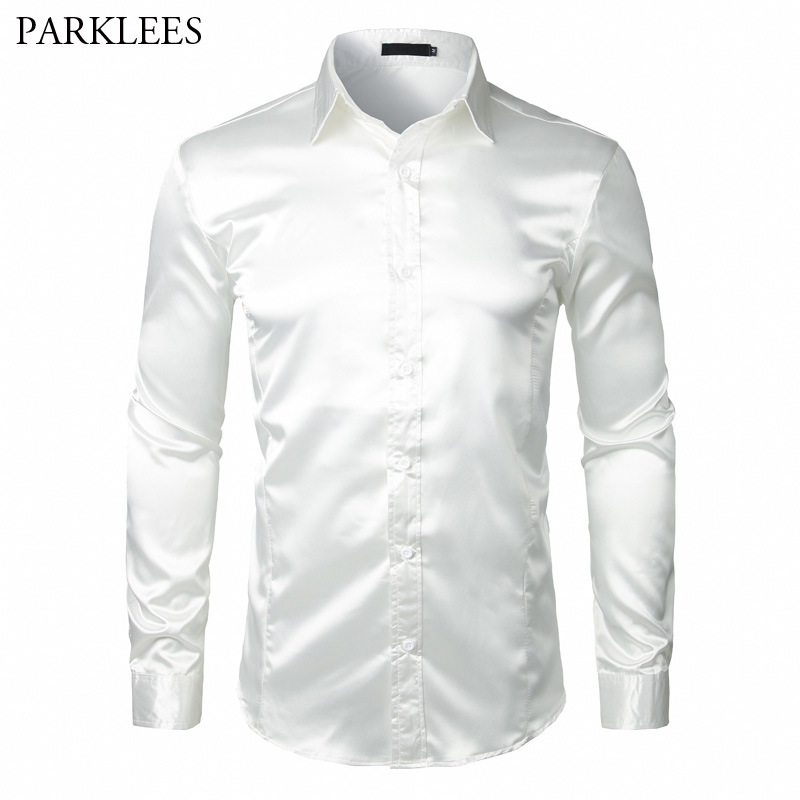 Men's Long Sleeve Silk Satin Dress Shirt 2018 Brand New White Wedding Tuxedo Shirt Men Slim Fit Business Social Shirts Chemise