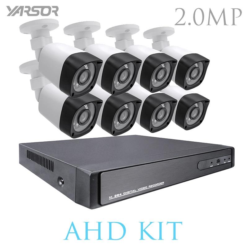 FL AKT2008DHB 1080P HDMI DVR Kit 8CH AHD CCTV System 8PCS 2.0MP Security Camera Outdoor Waterproof AHD Surveillance DIY Kit
