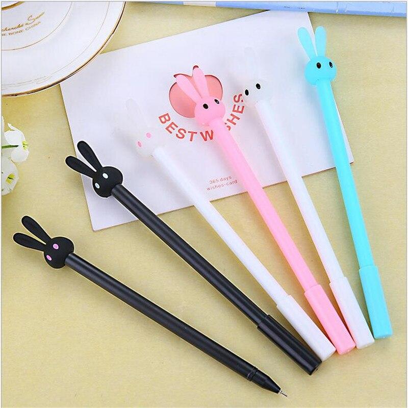 YOUE SHONE 2PCS Full needle refill rabbit gel pen cute rabbit jelly shape pens black core School Office Supplies 0 38mm in Gel Pens from Office School Supplies