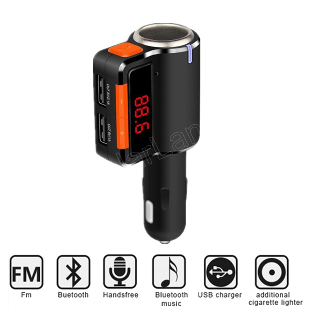 hot sale MP3 Player Audio Slots Dual USB LED screen Car Kit Wireless Bluetooth FM Transmitter Car Charger music phone  usb