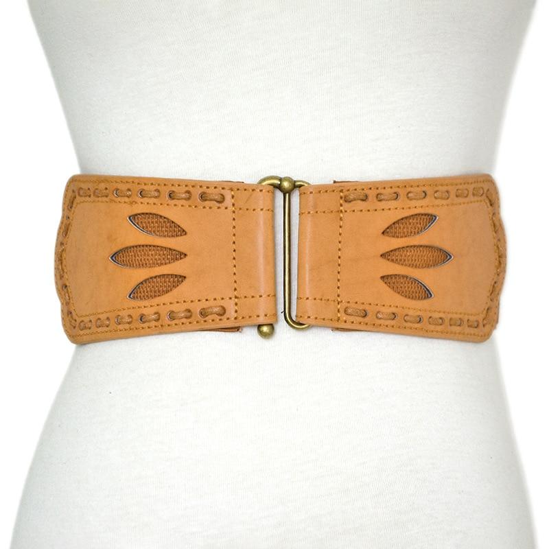 Vintage Wide Waist Belts For Women Stretchy Corset Waistband Hollow All-Match Women's Belt Flower Pattern Cummerbund
