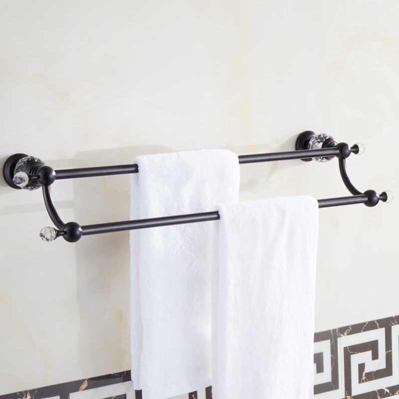 Luxury Brass Crystal Bath Towel Bar Wall Mounted Towel Shelf Double ...