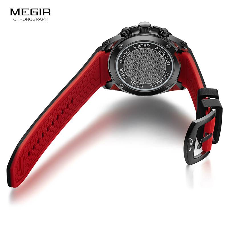 Image 5 - MEGIR Mens Fashion Sports Quartz Watches Luminous Silicone Strap Chronograph Analogue Wrist Watch for Man Black Red 2055G BK 1Quartz Watches   -