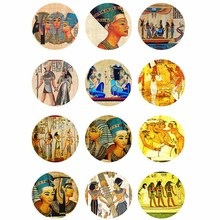10mm 12mm 14mm 16mm 20mm 25mm 353 12pcs/lot Egypt Mix Round Glass Cabochons Jewelry Findings 18mm Snap Button Charm Bracelet
