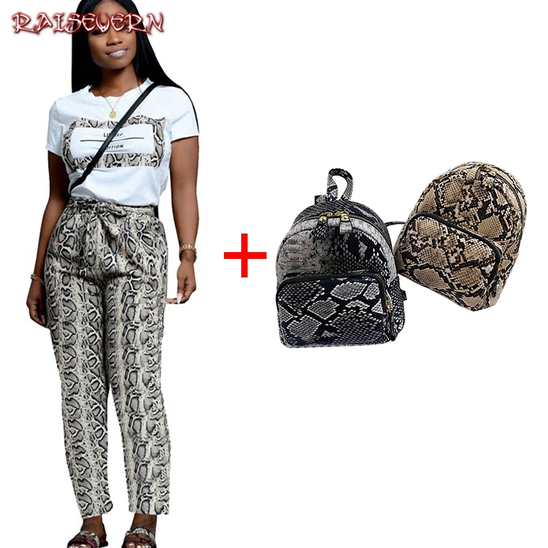 2019 Women Spring Casual Leopard Snake Skin Short Sleeve T Shirt Add Bow Tie Long Pants Casual Bodycon Two Piece Set Outfits Set