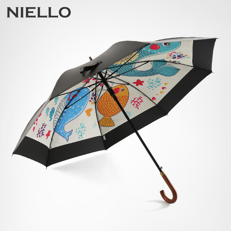 neillo windproof women 39 s umbrellas double layer anti uv parasol black coating wood long handle. Black Bedroom Furniture Sets. Home Design Ideas