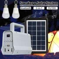 Newest Solar Power Speaker System Camping Flashlight Lighting Household Bulbs Solar Flashlight Light USB Charger