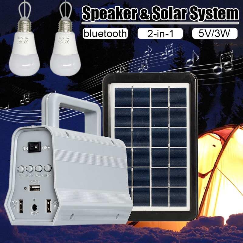Le plus nouveau système de haut-parleur d'énergie solaire Camping lampe de poche éclairage ampoules domestiques lampe de poche solaire chargeur USB