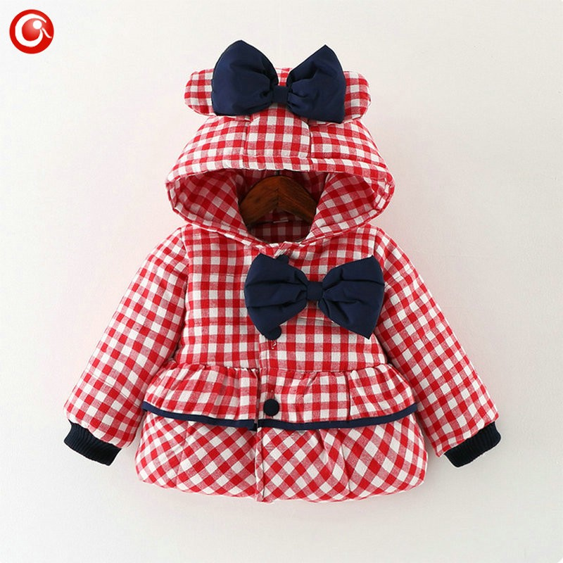Baby Girls Winter Bow Coats Kids Hoodies Plaid Warm Snowear Clothes Infant Girl Princess Jackets&Parkas Clothing 2016 (4)