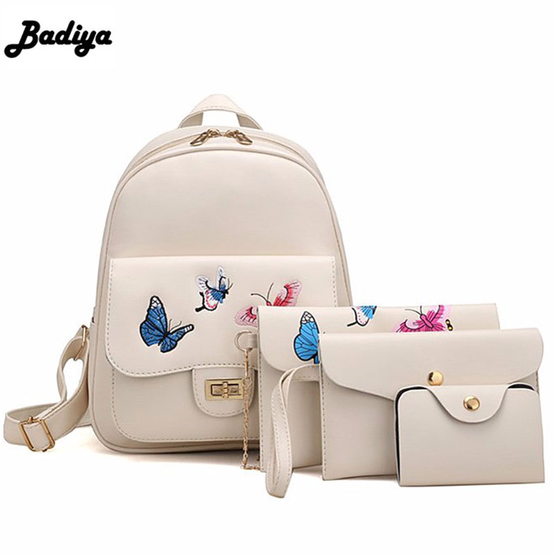 97beb3cc7f2f Detail Feedback Questions about Fashion New 4Pcs Set Small Women Butterfly  Embroidery Backpack Female School Bag Teenager Girls PU Leather Women  Shoulder ...
