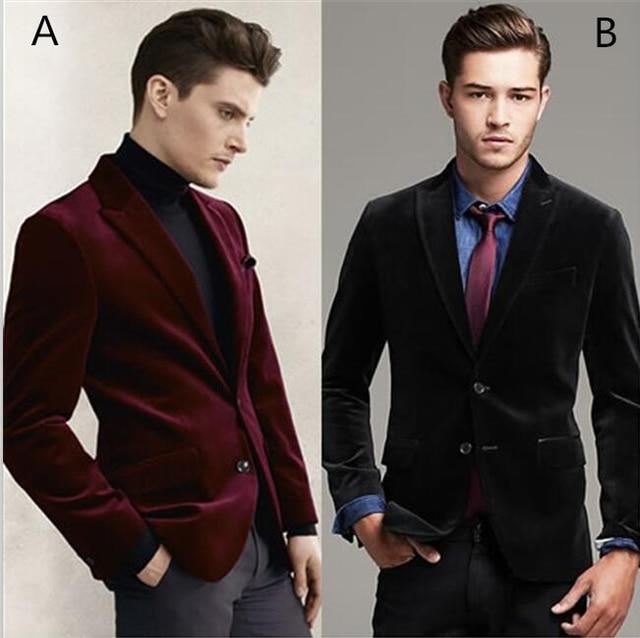 2017 New Tailor Made Black Red Velvet Blazer Groom Tuxedos Casual