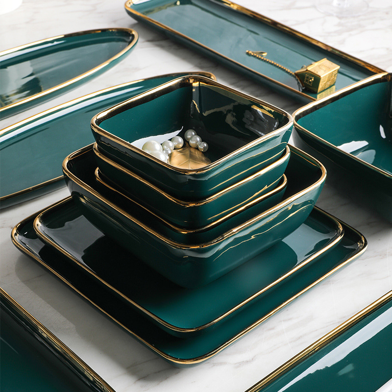 Tableware Green Ceramic Dinner Set Gold Inlay Porcelain Dessert Plate Steak Snack Cake Plate Salad Soup Rice Bowl Wholesale|Dishes & Plates| |  - title=