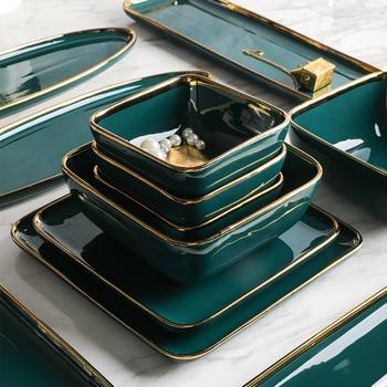 Tableware Green Ceramic Dinner Set Gold Inlay Porcelain Dessert Plate Steak Snack Cake Salad Soup Rice Bowl Wholesale