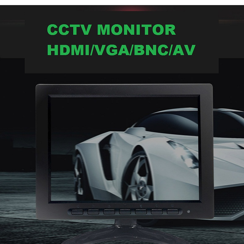 8 inch TFT LCD Color Video Monitor CCTV Monitor Screen HDMI VGA  BNC AV Input for PC CCTV Security  and Stand Rotating Screen 3 5 inch tft led audio video security tester cctv camera monitor