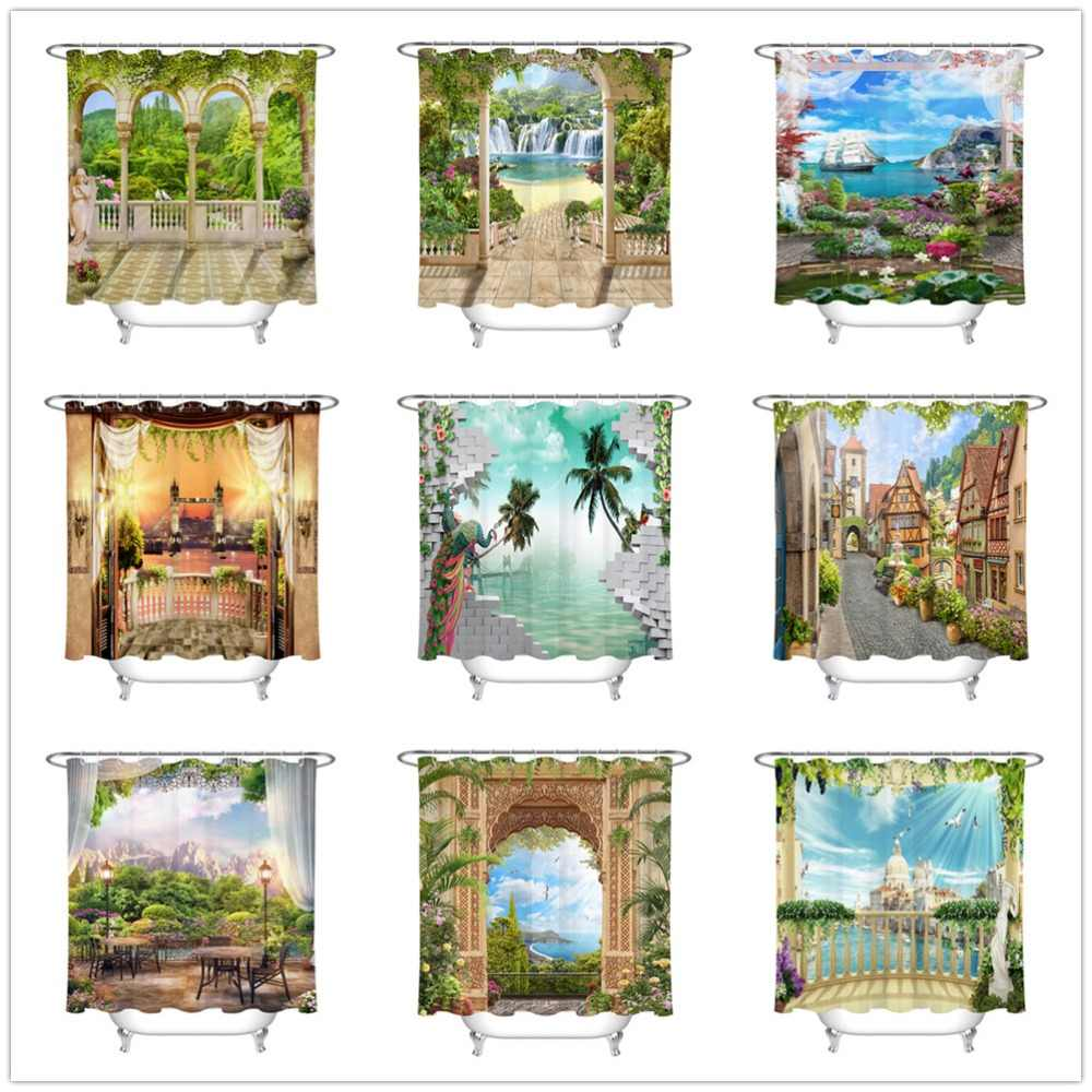 Europäische Landschaft Und Architektur Dusche Vorhang Bad Bildschirme Wasserdichte Umweltfreundliche Polyester Stoff für Badewanne Decor