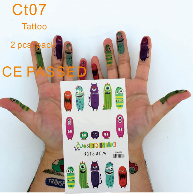 CT07 Children Temporary Tattoo Non Toxic And With CE Certificate Monster Finger Tattoos Sticker