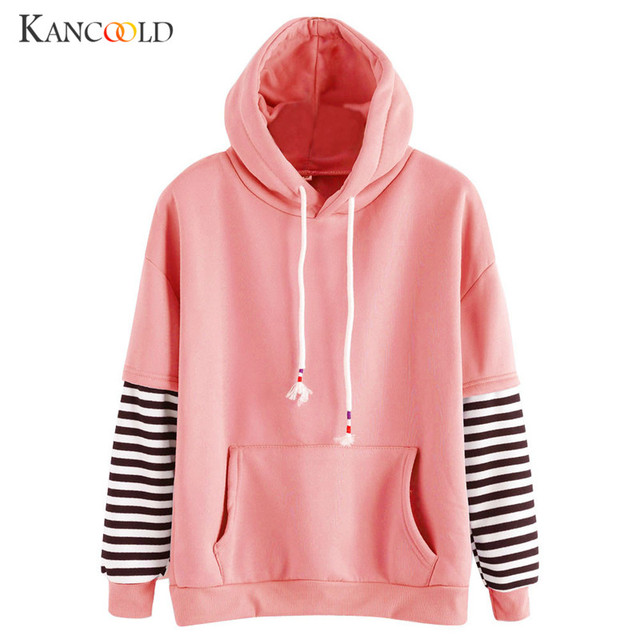Women Long Sleeve Striped Hooded Sweatshirts Women s Sweatshirt Girl  Drawstring hat Hoodie Pullover Tracksuit Pullovers new sp15 08a74659c