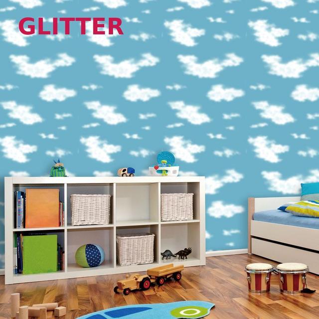 Kinder Kinderzimmer Blau Himmel Weiß Wolken Tapete Für Kinder ...