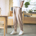 Men's casual pants 2016 New Men's solid color linen casual trousers Stylish and comfortable large size men straight trousers