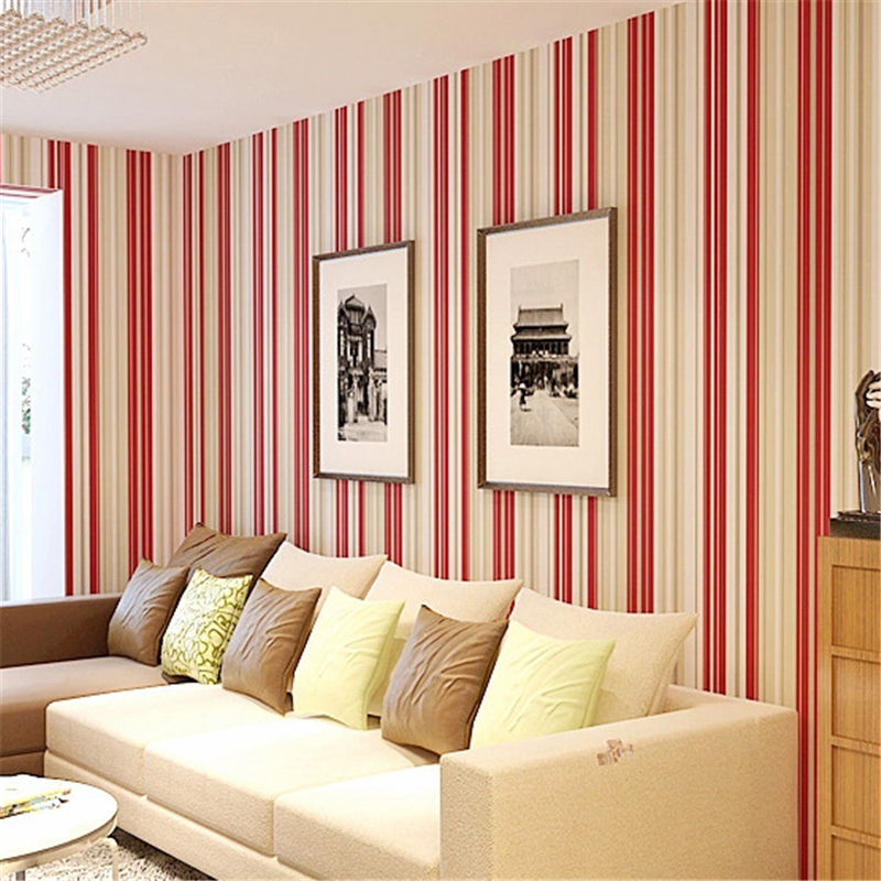 beibehang High - grade non - woven three - dimensional vertical striped wallpaper bedroom wall full of wallpaper red purple high grade non woven fabric of green chinese trumpet creeper wallpaper europe type restoring ancient ways sitting room bedroom