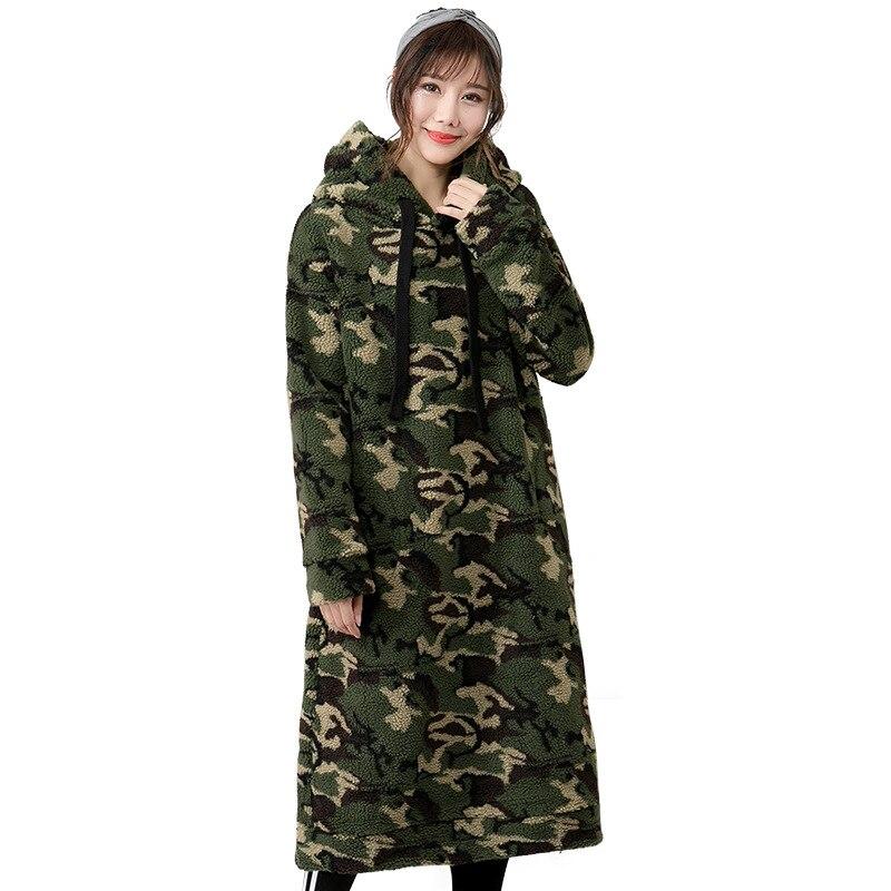Vestes à capuche femmes décontracté Motif De Camouflage Sweats pulls à capuche sweatshirt à capuche long Hiver Chaud Doux L'allongement hauts à capuche Épais