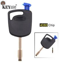 KEYECU 1x/3x 4D60 Substituição Chip de Transponder Fob Chave Do Carro para Ford Fiesta Foco Mondeo Trânsito FO21 Lâmina