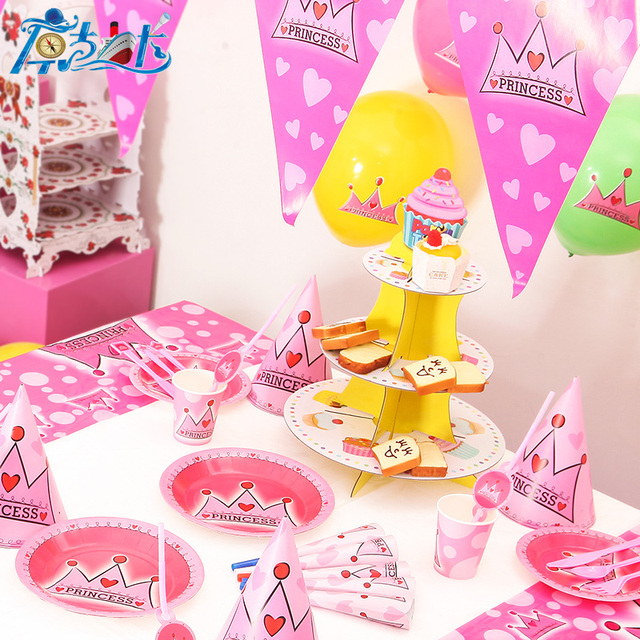 116 Lot 12 Menschen Neue Kinder Birthday Party Decoration Set Geburtstag Rosa Prinzessin Thema