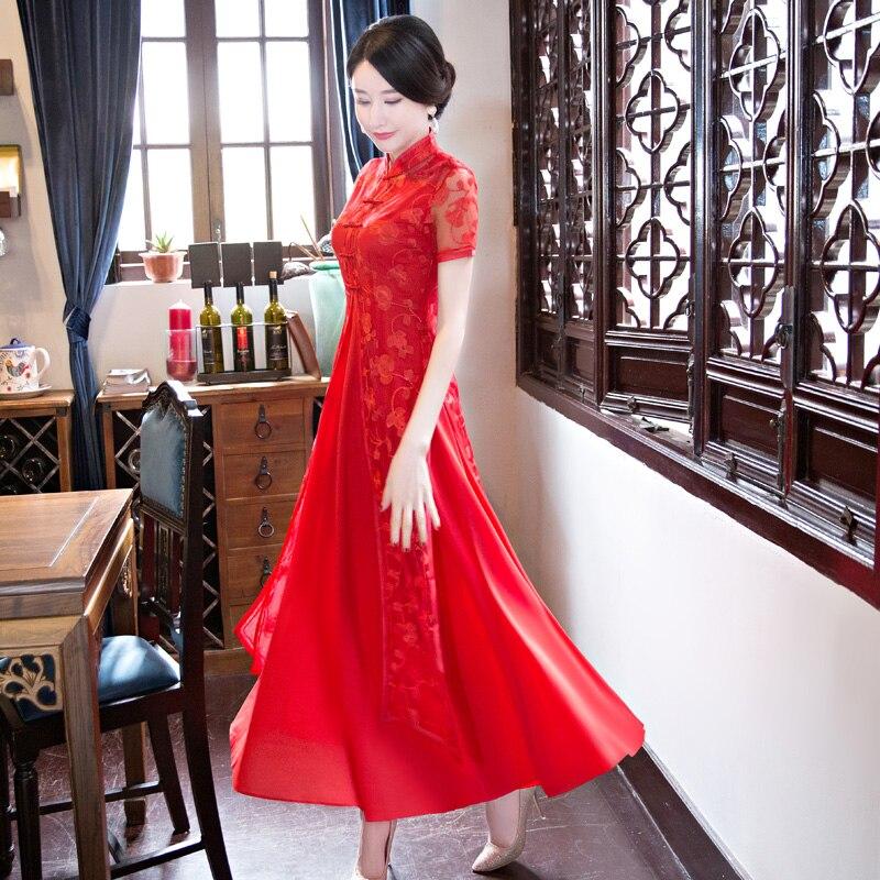 Kadın Giyim'ten Elbiseler'de Shanghai Hikayesi 2019 Yeni Varış Bahar Halk Tarzı Aodai Vietnam Cheongsam Elbise Kadınlar Için Geleneksel Giyim ao dai'da  Grup 1