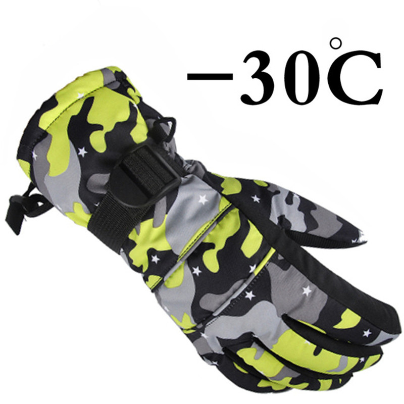 2017 new winter windproof outdoor Sport Ski Gloves kids Breathable Camouflage Snowboard Gloves winter warm thermal snow gloves new mens leather waterproof screen gloves mittens for male winter windproof ski super driving warm proctive gloves