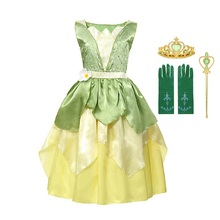 MUABABY Girl Tiana Princess Costume Children Sleeveless The Princess and The Frog Dress Up Halloween Kids Party Dancing Fantasy цена и фото