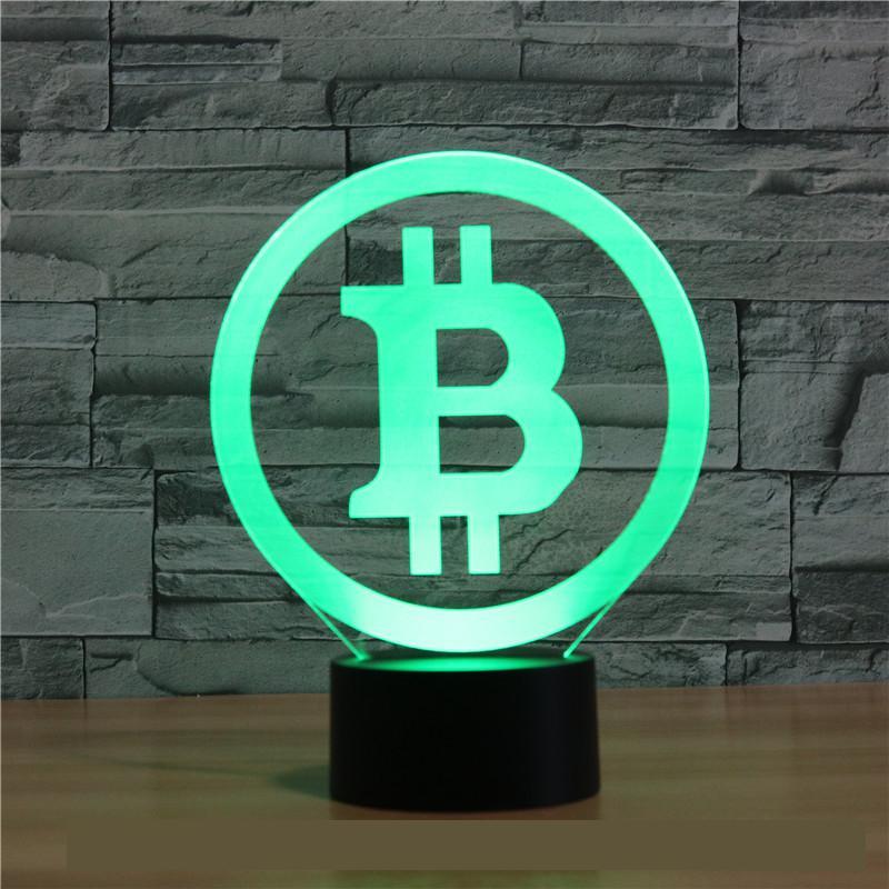 Новый Биткоин 3d лампа семь цветов сенсорный светодиодный визуальный подарок украшение Стол СВЕТОДИОДНЫЙ Ночник Прекрасный 7 цветов Измене...