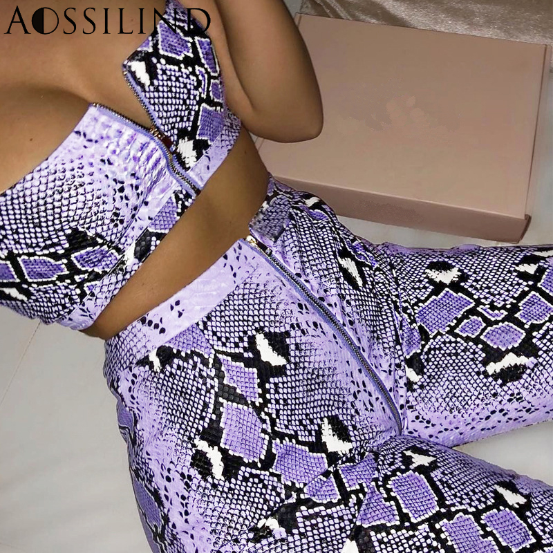 AOSSILIND Snakeskin Print Sexy Two Piece Set Outfits Summer Women Strap High Waist Zipper Crop Top and Pants Party Club Sets in Women 39 s Sets from Women 39 s Clothing