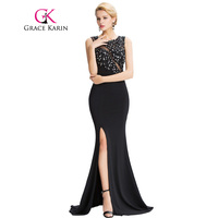 2016 New Grace Karin Sleeveless Split Mermaid Evening Dress Floor Length Elegant Long Black Formal Dresses