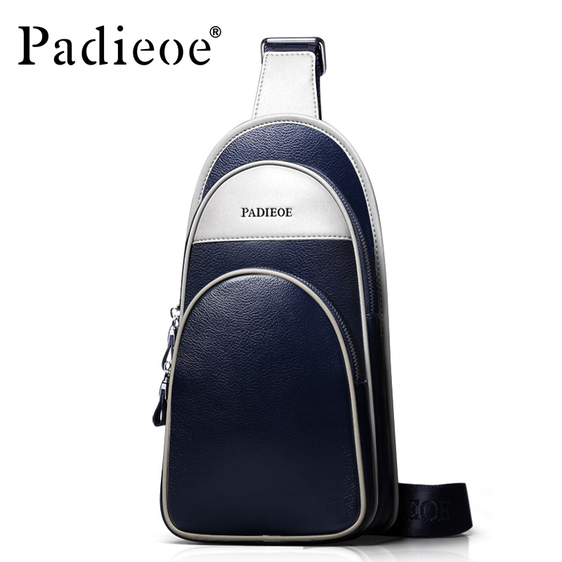 ФОТО Padieoe Genuine cow leather Casual Chest bag for men fashion high quality shoulder bag Durable crossbody bag messenger bags