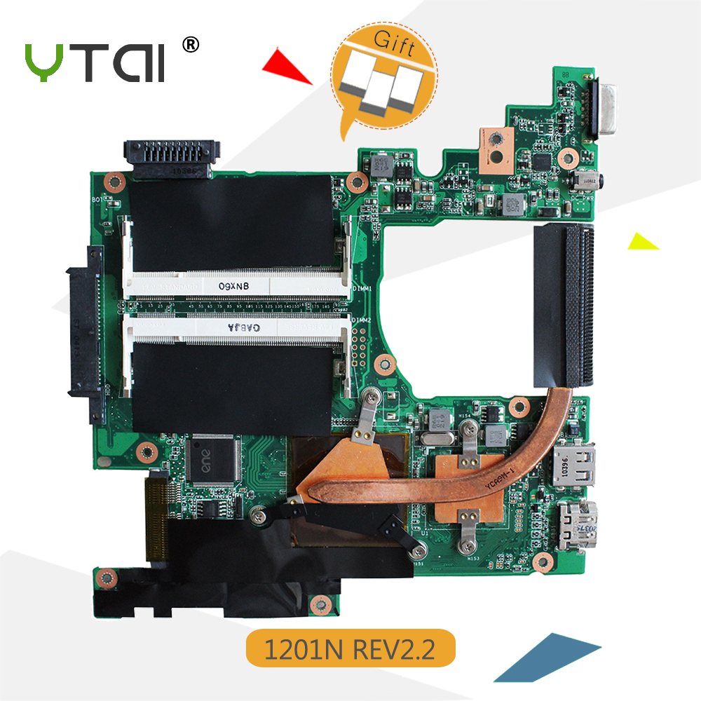 YTAI 1201N P/N:08G2001NC22C Mianboard for Asus 1201N laptop Motherboard with Processor P/N:08G2001NC22C Eee PC 1201N Mainboard цена