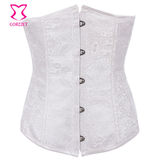 1c5bb496877 White Paisley Pattern Waist Trainer Cincher Corset Underbust Corpetes E  Espartilhos Gothic Korsett For Women Wedding Underwear