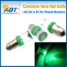 20Pcs #1893 #44 #47 #1847 BA9S Bayonet Base green white red blue yellow  color AC DC 6.3V concave clear pinball  Non Ghost