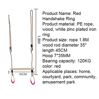 Trapeze Bar Swing Gym Rings Adjustable Patio Swings Children Indoor Outdoor Furniture Toys