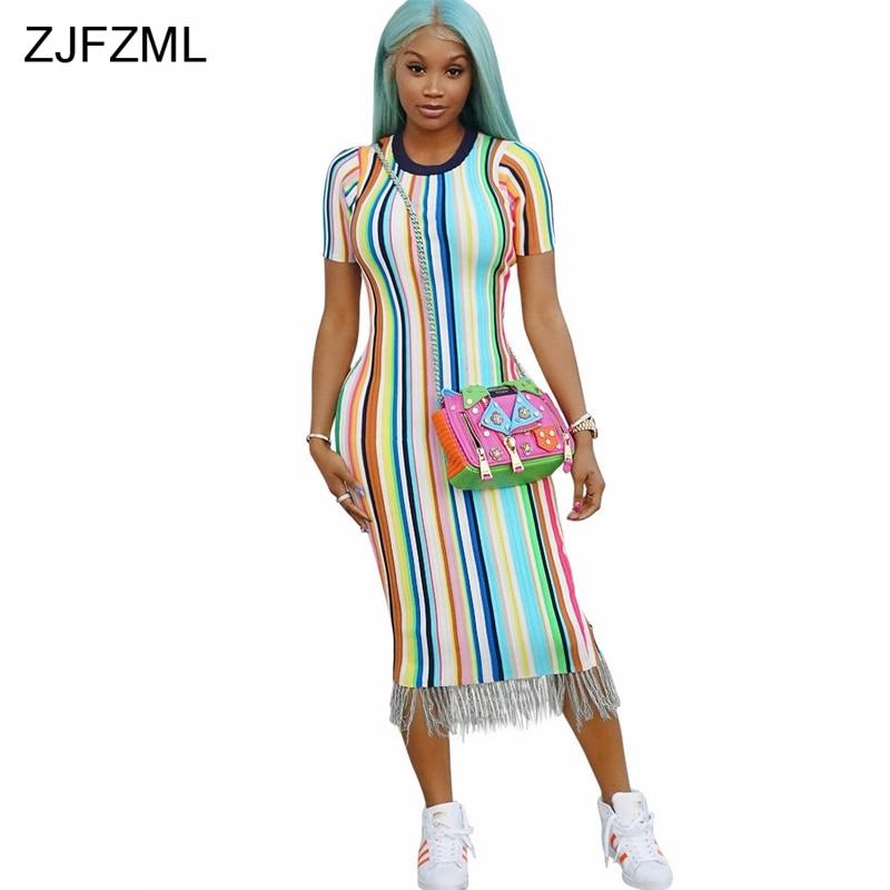 ZJFZML O Neck Short Sleeve Summer Dresses Women Rainbow Vertical Striped Tassel Bandage Dress Streetwear Party Club Tight Dress