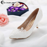 Shoes Women pumps White wedding shoes female high heels flower lace pearl shoes bridal shoes 7cm heels