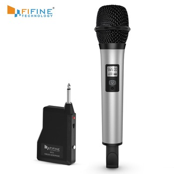 Fifine Wireless Microphone System with Portable Receiver 1/4'' Output UHF Channels Perfect for Show Stage Church, Wedding K035
