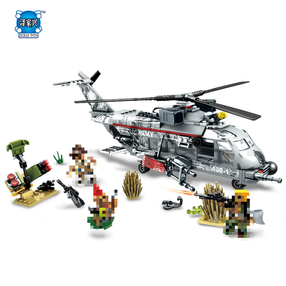 купить NEW DIY model 340pcs Military Helicopter Special Forces War Building Blocks Set Army Soldiers Figures Bricks for LEPINS Toys недорого