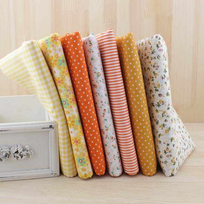 7pcs 50cmx50cm Yellow fat quarter 100% Cotton Fabric for DIY Sewing Patchwork quilting Tilda Doll Cloth Textiles tissus,fabrics